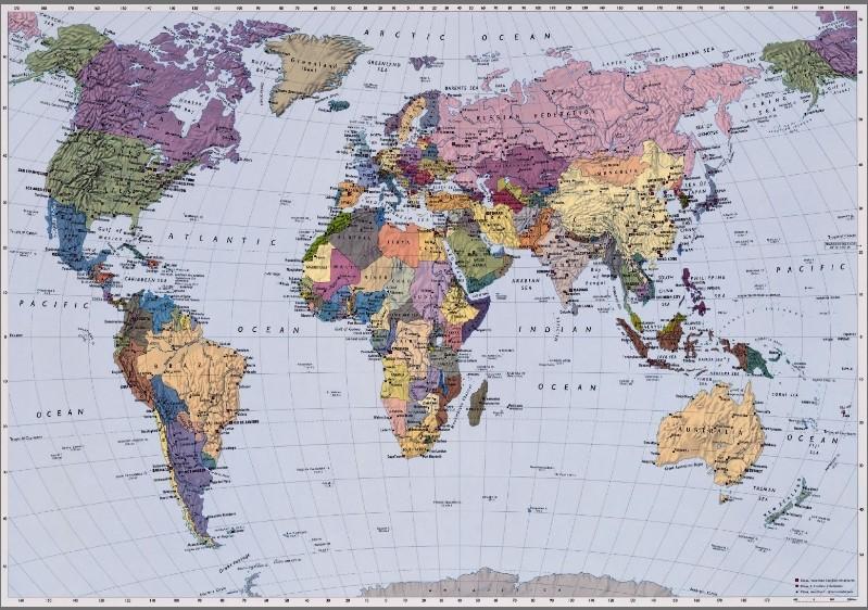 4 050 World Map Fototapeta Komar Mapa Sveta Veľkost 270x188 Cm